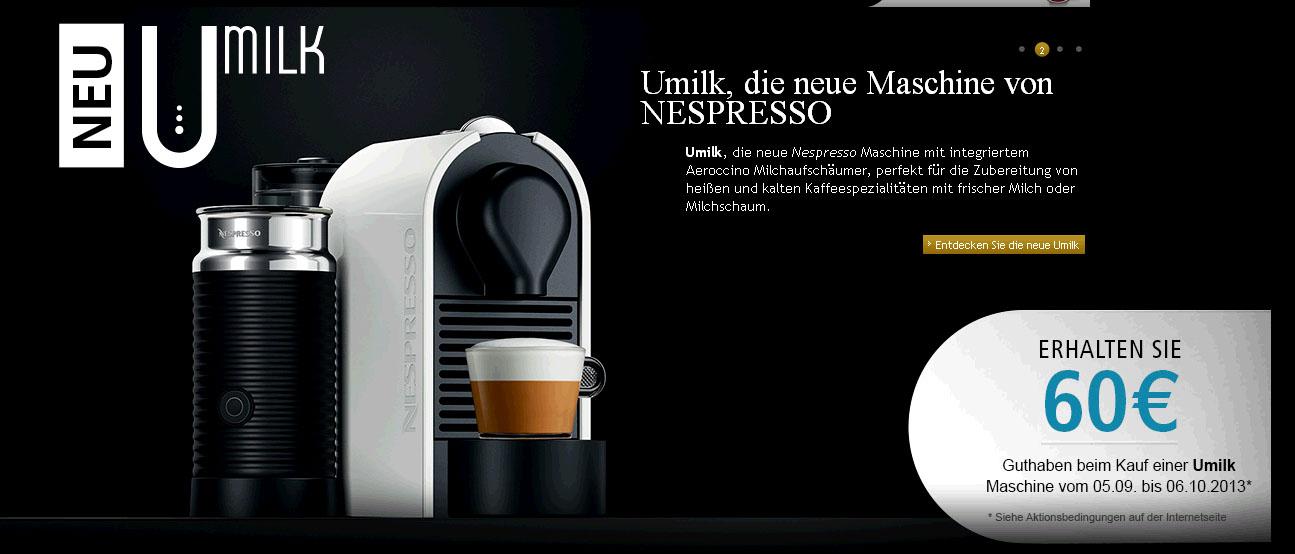 nespresso 60 euro club guthaben beim kauf einer nespresso. Black Bedroom Furniture Sets. Home Design Ideas