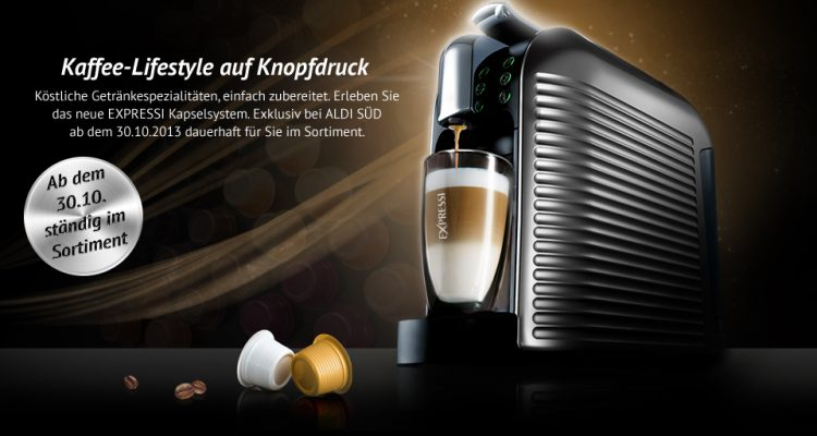 kaffeekapselmaschine von aldi im sortiment expressi kapsel. Black Bedroom Furniture Sets. Home Design Ideas