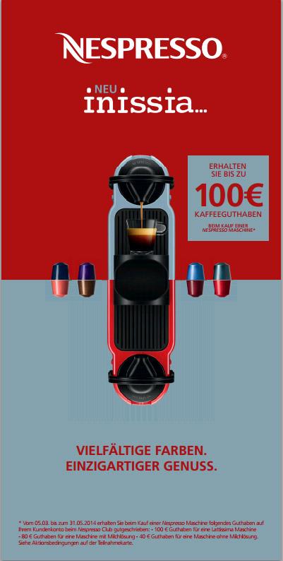nespresso bis zu 100 guthaben beim kauf einer maschine kapsel. Black Bedroom Furniture Sets. Home Design Ideas