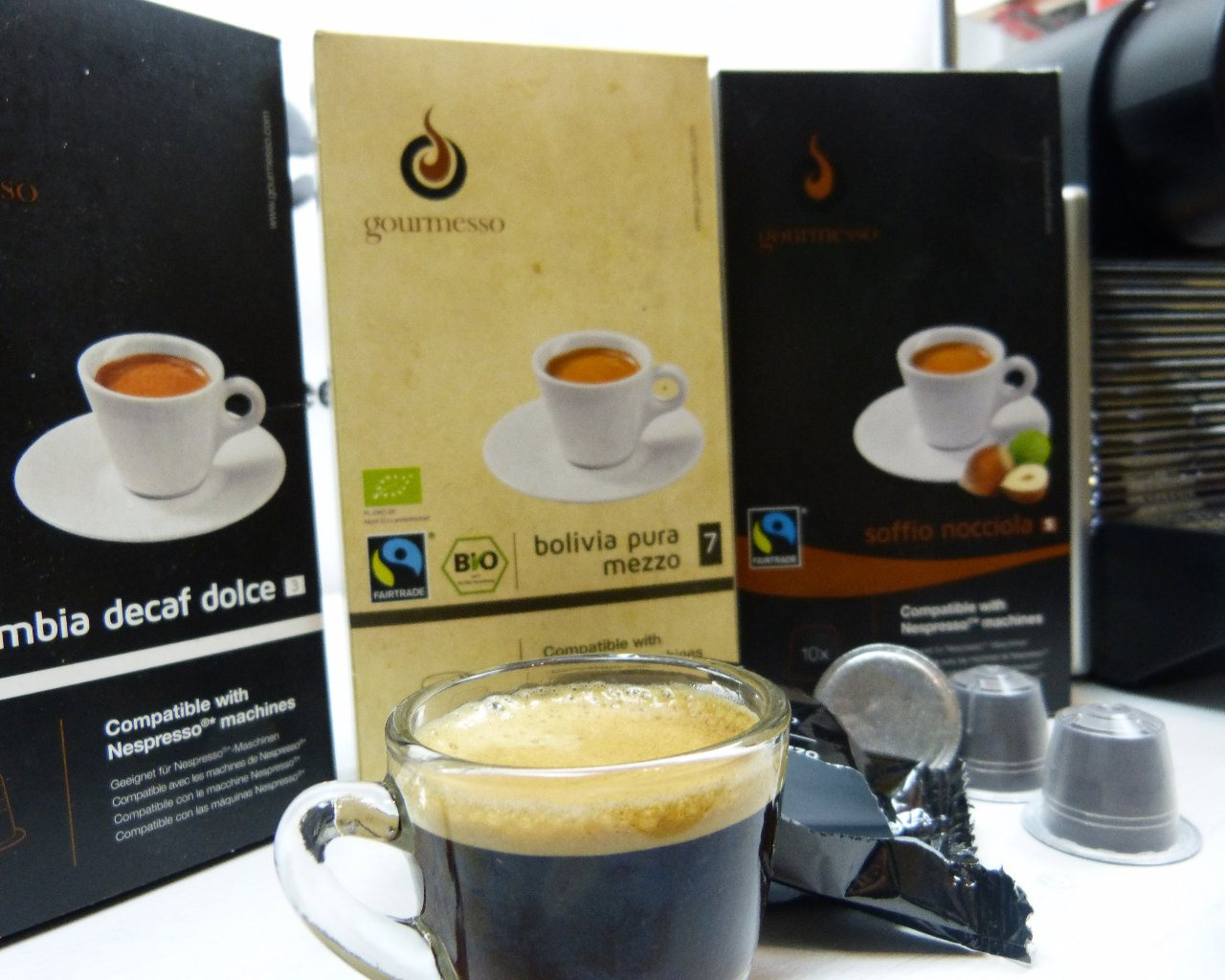 gourmesso kaffeekapseln im test kompatibel mit nespresso025 kapsel. Black Bedroom Furniture Sets. Home Design Ideas